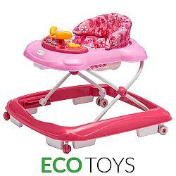 ECOTOYS Dětské vzdělávací chodítko s multimediálním panelem Eco Toys růžové
