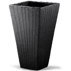 LeViva Květináč Rada 40x40 x70cm tmavě šedý