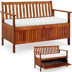 LeViva Zahradní lavice z akátového dřeva s úložným prostorem Geta hnědá