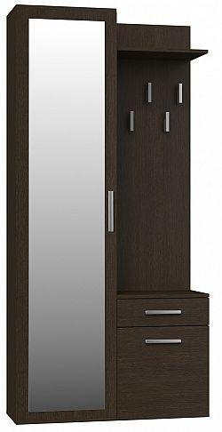 Shoptop Předsíňová skříň se zrcadlem a šuplíky- DUO WENGE