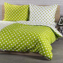 4Home Bavlněné povlečení Zelený puntík, 160 x 200 cm, 2 ks 70 x 80 cm