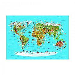 AG Art Dětská fototapeta XXL Mapa světa 360 x 270 cm, 4 díly