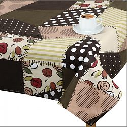 Bellatex Ubrus GITA Hnědý patchwork, 100 x 100 cm