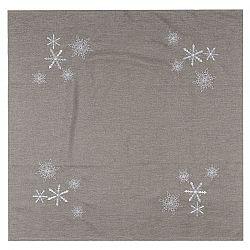 BO-MA Trading Vánoční ubrus Vločky šedá, 85 x 85 cm