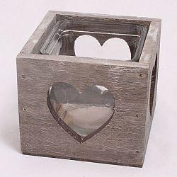 Dakls Dřevěný svícen se sklem Srdce, hnědá