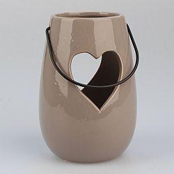 Dakls Závěsný keramický svícen Srdce hnědá, 14,5 cm