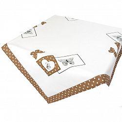 Forbyt Ubrus Motýl na puntíku hnědá, 120 x 140 cm