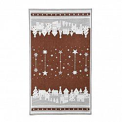 Forbyt Vánoční utěrka Zimní vesnička hnědá, 45 x 70 cm
