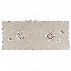 Forbyt Vánoční vyšívaný ubrus Sněhové vločky šedá, 40 x 90 cm