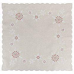 Forbyt Vánoční vyšívaný ubrus Sněhové vločky šedá, 85 x 85 cm