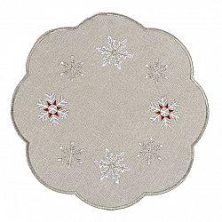 Forbyt Vánoční vyšívaný ubrus Sněhové vločky šedá, pr. 35 cm