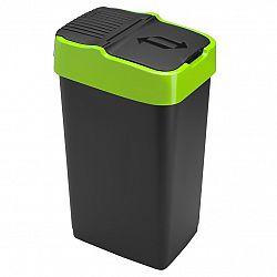 Heidrun Odpadkový koš 35 l, černý se zeleným pruhem