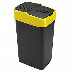Heidrun Odpadkový koš 35 l, černý se žlutým pruhem, 35 l