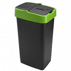 Heidrun Odpadkový koš 60 l, černý se zeleným pruhem