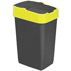 Heidrun Odpadkový koš 60 l, černý se žlutým pruhem , 60 l