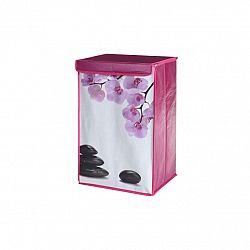 Koš na špinavé prádlo 36 x 30 x 57 cm, květy orchideje