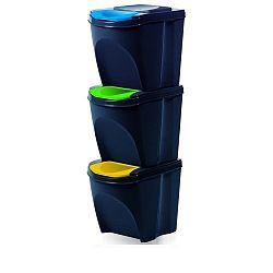 Koš na tříděný odpad Sortibox 20 l, 3 ks, antracit IKWB20S3 – S433