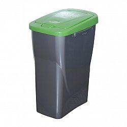 Koš na tříděný odpad zelené víko; 61,5 x 42 x 25 cm; 40 l; plast