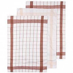 Kuchyňská utěrka Linen hnědá, 50 x 70 cm, sada 3 ks