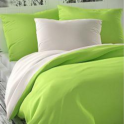 Kvalitex Saténové povlečení Luxury Collection bílá/světle zelená, 140 x 220 cm, 70 x 90 cm
