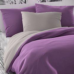 Kvalitex Saténové povlečení Luxury Collection fialová/světle šedá, 240 x 200 cm, 2 ks 70 x 90 cm
