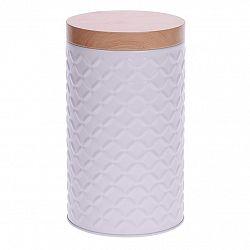 Plechová dóza Wooden pr. 11 cm, bílá