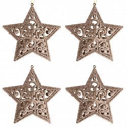 Sada závěsných ozdob Shiny Hvězda zlatá, 4 ks