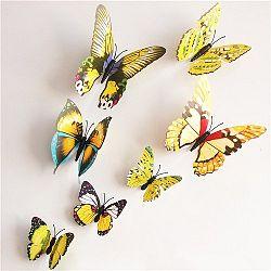 Samolepicí 3D motýlci s magnetem žlutá, 12 ks