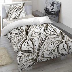 Saténové povlečení Marbelled Pewter, 140 x 200 cm, 70 x 90 cm