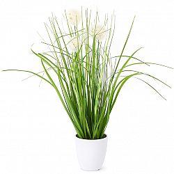 Umělá kvetoucí tráva Justine bílá, 36 cm