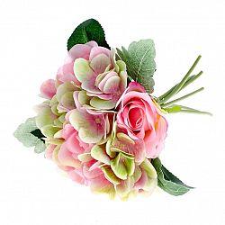 Umělá kytice Růže s hortenzií růžová, 28 cm
