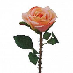 Umělá rozkvetlá růže s trny oranžovo-růžová,