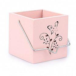 Závěsný dřevěný svícen Motýl růžová, ZS0506