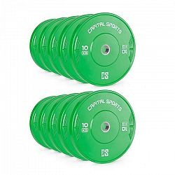 Capital Sports Nipton Bumper Plates, závaží k činkám, 5 párů, 10 kg, tvrdá guma, zelené