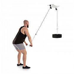 KLARFIT Hangman, kladka, stropní instalace, 2m kabel, tricepsová tyč, bílá barva
