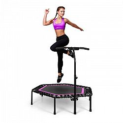 """KLARFIT Jumpanatic Pro, fitness trampolína, 50 """"/ 127 cm Ø, tyč s rukojetí, růžová"""