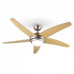 Klarstein Bolero, 55 W, stropní ventilátor se svítidlem, 134 cm, javorová ramena, dálkový ovladač