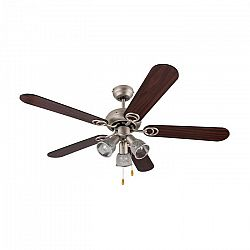 Klarstein Charleston, 60W, stropní ventilátor se třemi svítidly, 122 cm, dřevěná ramena, nerezavějící ocel