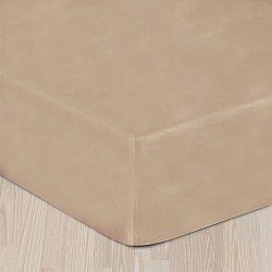 Béžové prostěradlo hladké 160x220 cm - bez gumy Bavlněný satén