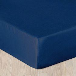Modré prostěradlo hladké 160x220 cm - bez gumy Bavlněný satén