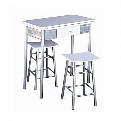 Barový set, stůl + 2 židle, bílá / stříbrná, HOMER 0000085852 Tempo Kondela