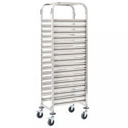 Kuchyňský vozík na 16 podnosů nerez ocel Dekorhome