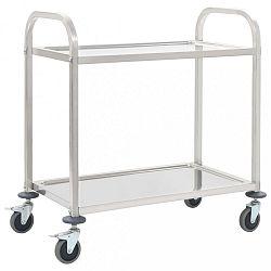 Kuchyňský vozík nerezová ocel Dekorhome 87x45x83,5 cm (2 police)