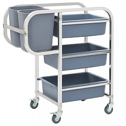 Kuchyňský vozík s boxy nerezová ocel / plast Dekorhome