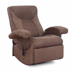 Relaxační křeslo, s elektrickou funkcí vibrování, hnědá látka, SUAREZ 0000083871 Tempo Kondela
