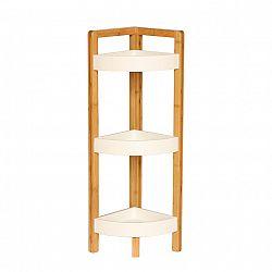 Rohový regál FONG bílá / přírodní bambus Tempo Kondela