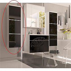Skříňka vysoká, bílá / černý extra vysoký lesk HG, MASON BL11 0000186891 Tempo Kondela