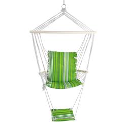 Závěsné houpací křeslo s podnožkou JAMBI zelená / bílá Tempo Kondela