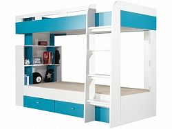 Dětská patrová postel Bambi MO19  Bambi: Dekor Bílá + modrá