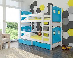 Dětská patrová postel Marika, bílá/modrá + matrace ZDARMA!